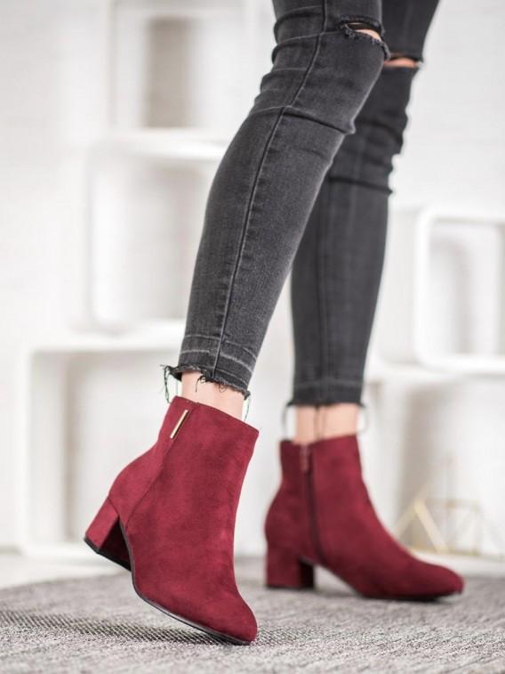 Semišové členkové bordové topánky