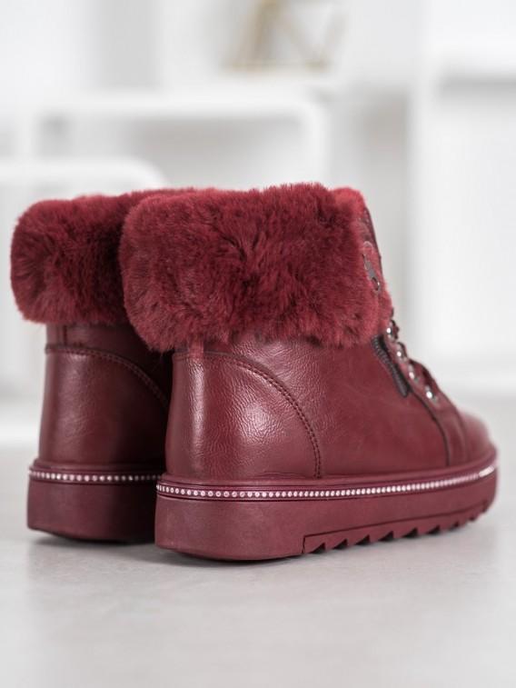 Bordové členkové topánky s kožúškom