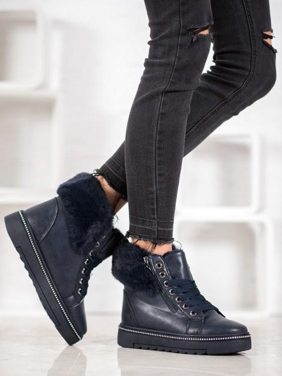 Modré členkové topánky s kožúškom