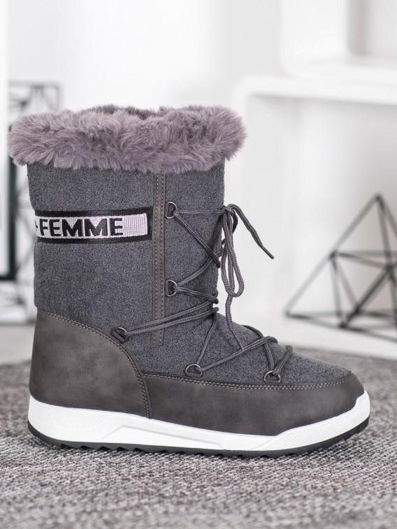 Snehule Fashion na šnurovanie