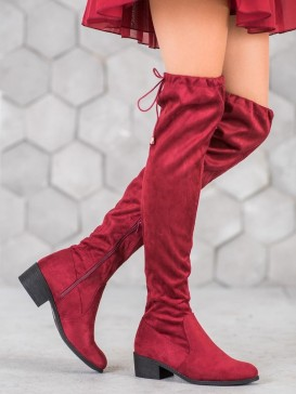 Bordové čižmy nad kolená