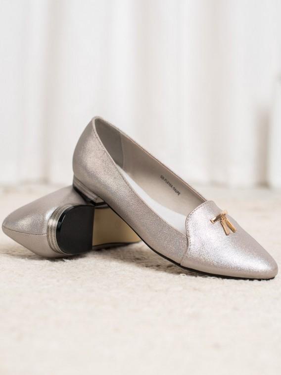 Lesklé šedé baleríny
