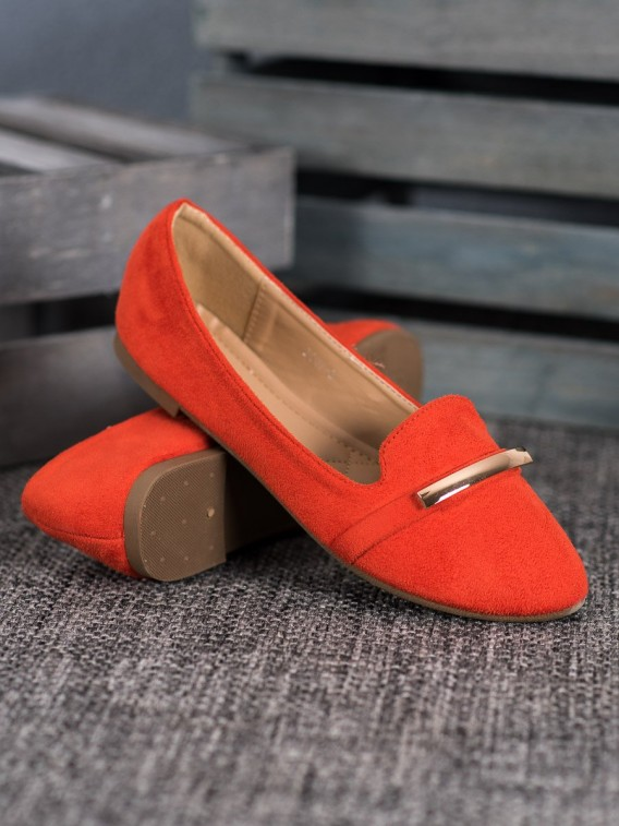 Oranžové baleríny s ozdobou