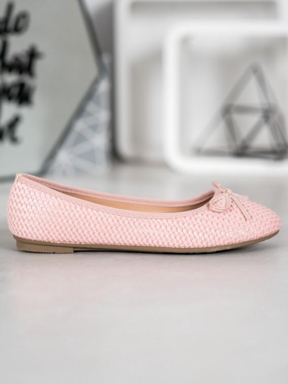 Pletené ružové baleríny
