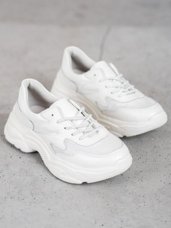 Kožené biele sneakersy