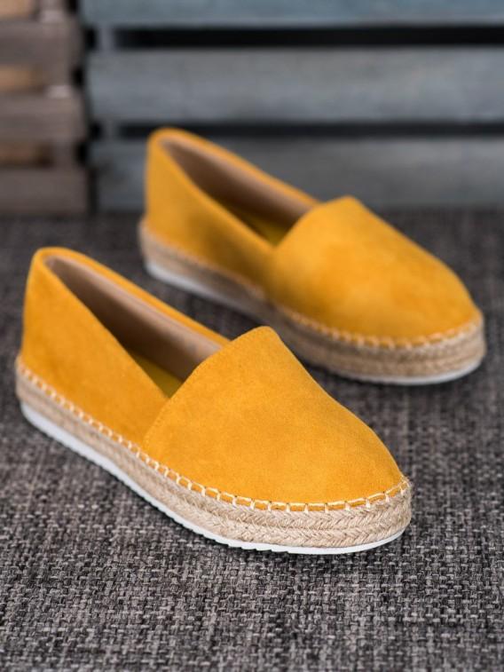 Žlté semišové espadrilky