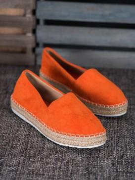 Oranžové semišové espadrilky