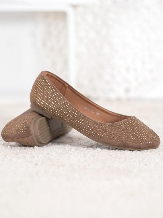 Semišové baleríny s kamienkami
