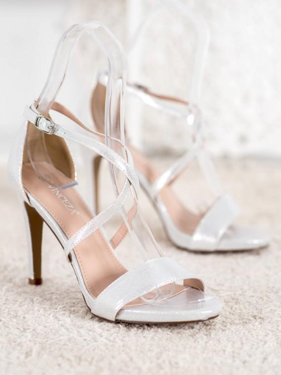 Sexy strieborné sandále