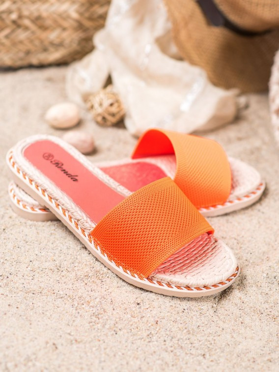Textilné oranžové šľapky