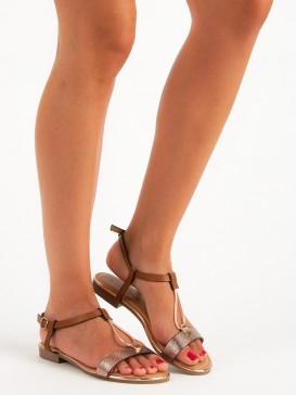 Hnedé ploché sandále