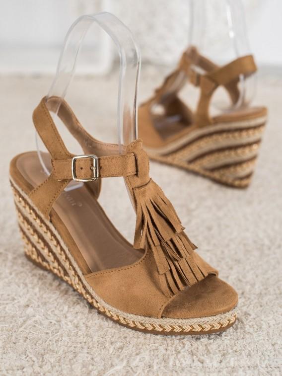 Semišové topánky na kline so strapcami