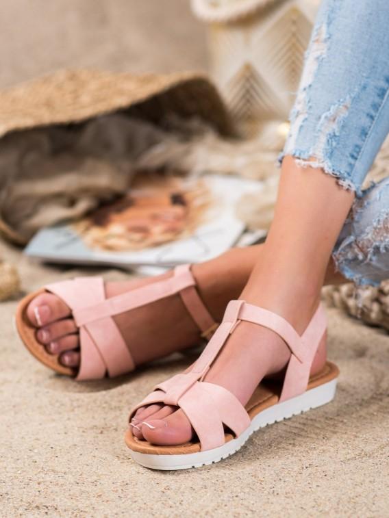 Ružové textilné sandálky