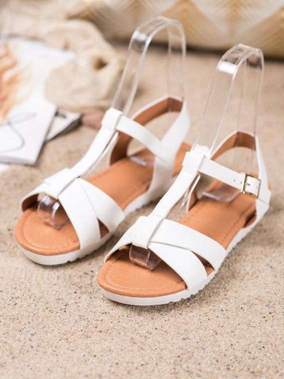 Biele textilné sandálky