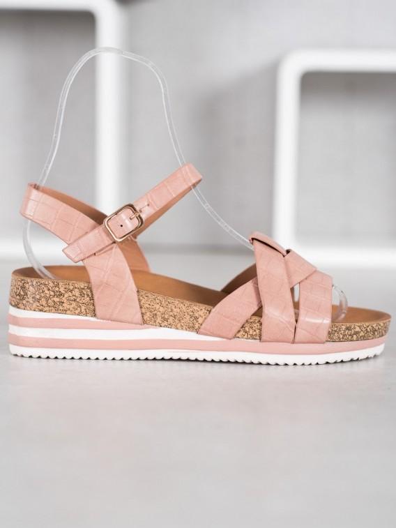 Ružové sandálky z eko kože