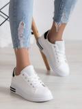 Štýlové biele sneakersy z ekologickej kože s čiernym pásikom