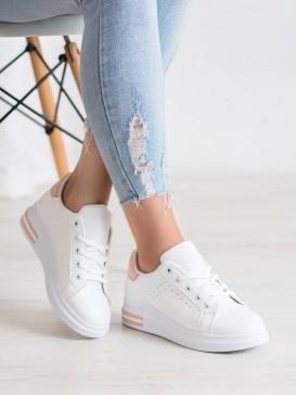 Štýlové biele sneakersy z ekologickej kože s ružovým pásikom