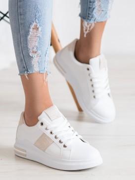 Biele sneakersy s béžovou aplikáciou