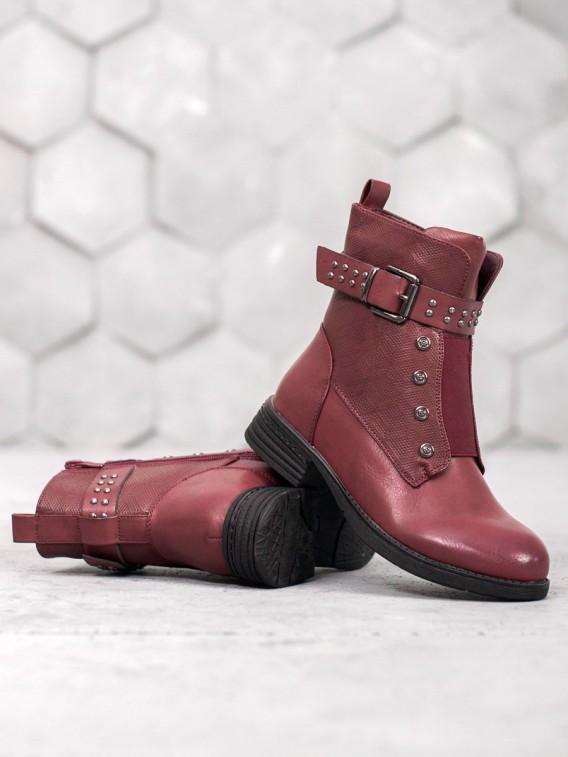 Bordové členkové topánky