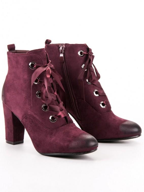 Bordové semišové topánky