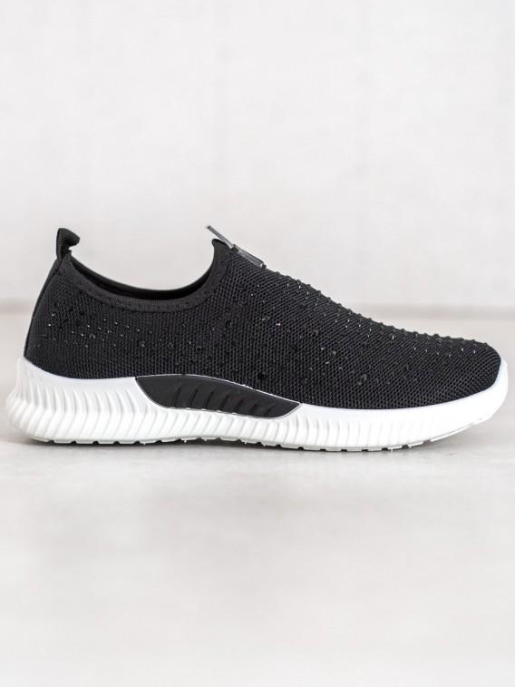 Čierna obuv s kryštálmi