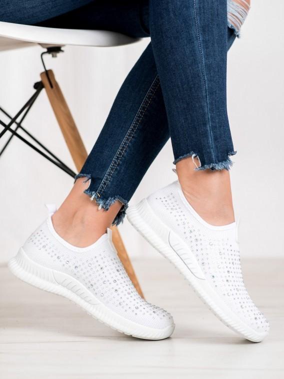 Biela obuv s kryštálmi