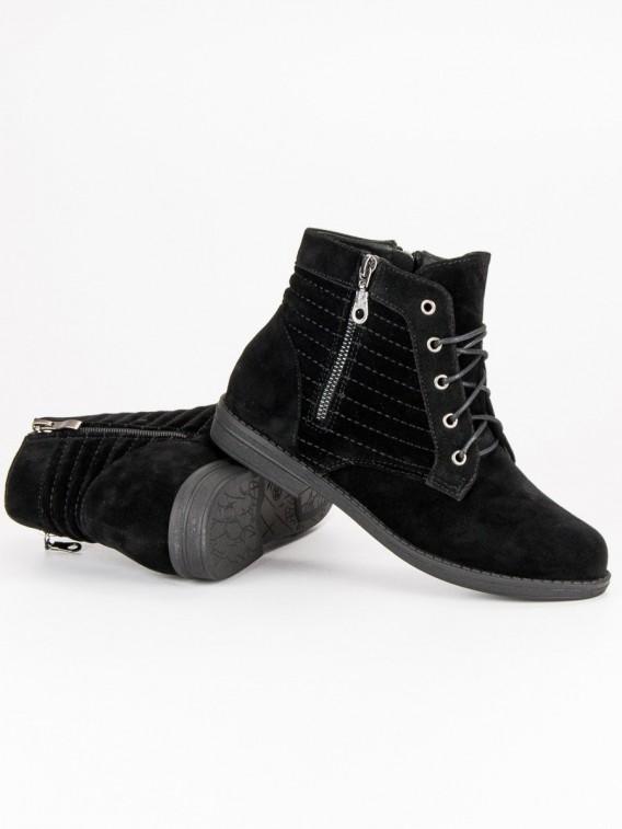 Čierne topánky na zips 881-5B