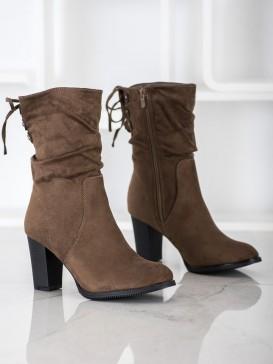 Vysoké hnedé členkové topánky