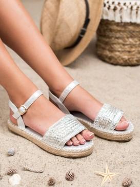 Strieborné sandále espadirlky