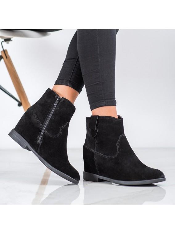 Kožené členkové topánky na kline