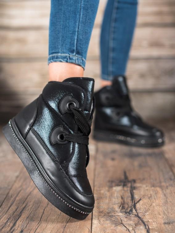 Zateplené topánky s kryštálmi