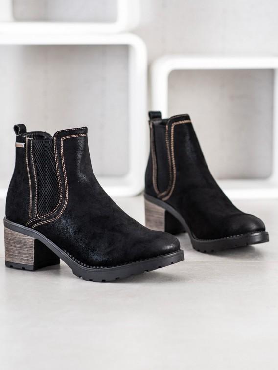 Štýlové členkové topánky s brokátom