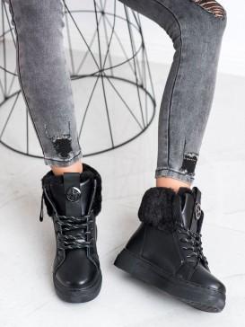 Viazané členkové topánky s kožúškom