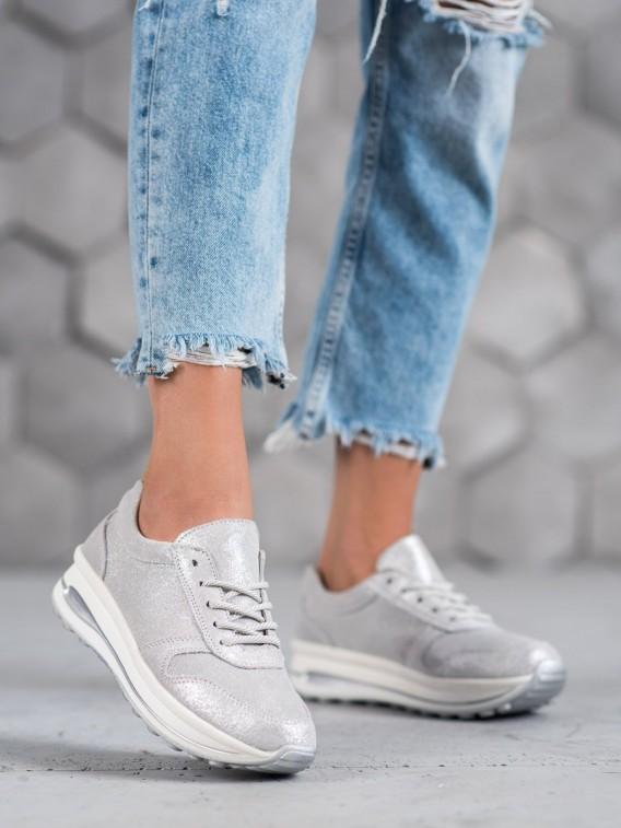 Kožené dámske topánky s brokátom Vinceza