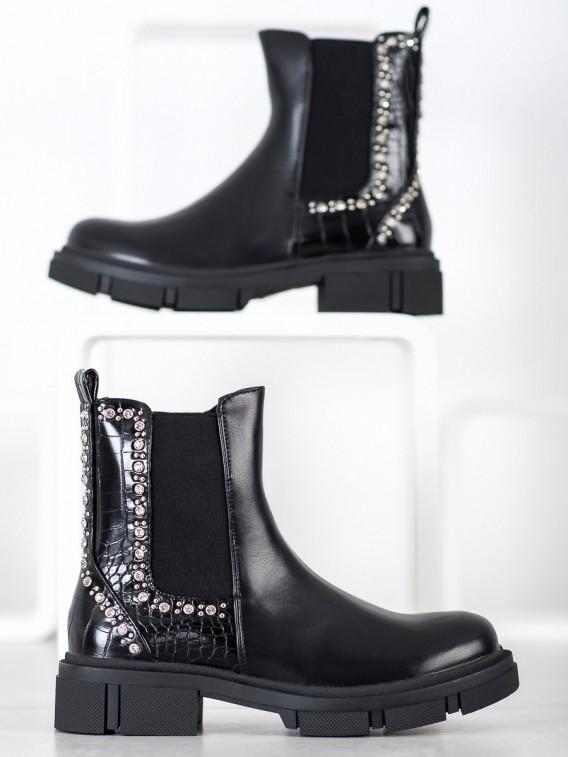 Čierne členkové topánky s kamienkami