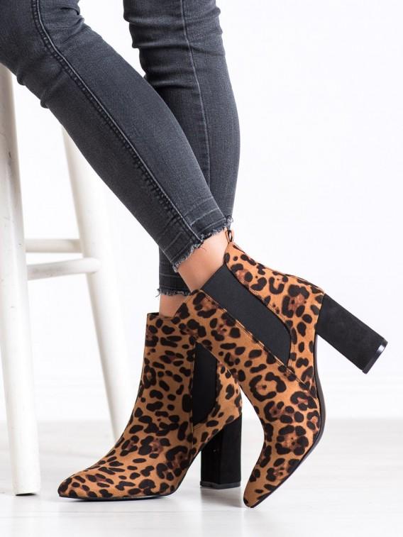 Členkové topánky s leopardím vzorom