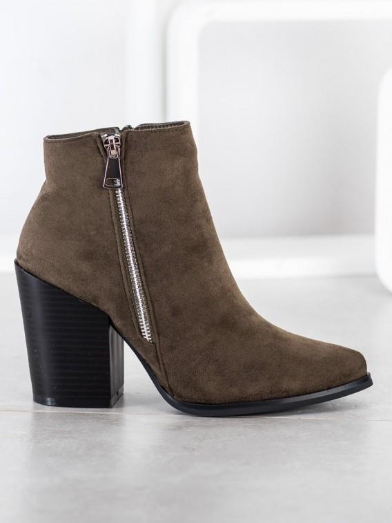 Zateplené členkové topánky s ozdobným zipsom