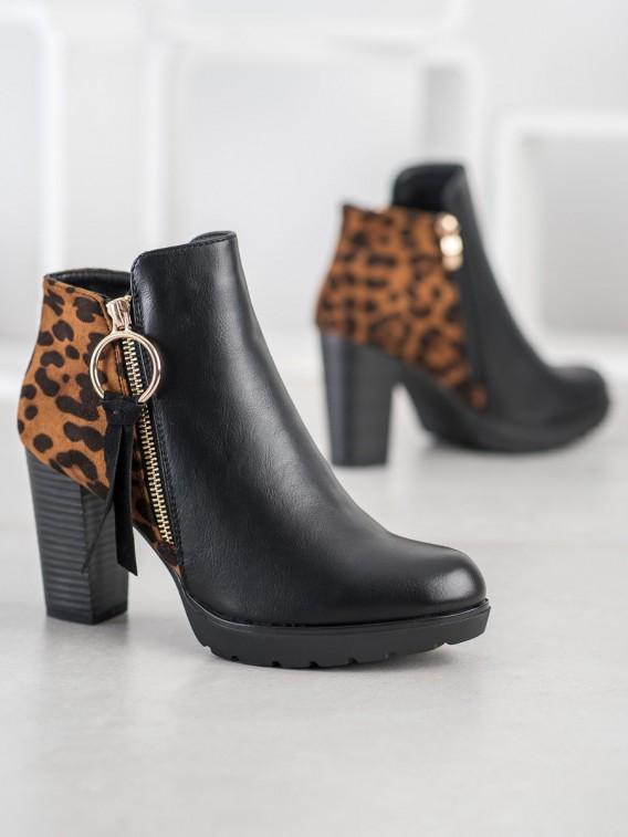 Zateplené členkové topánky s leopardím vzorom