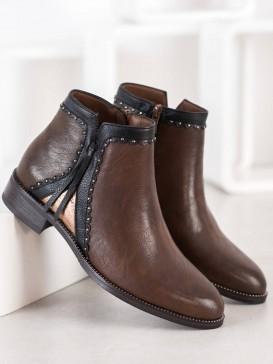 Hnedé členkové topánky z eko kože