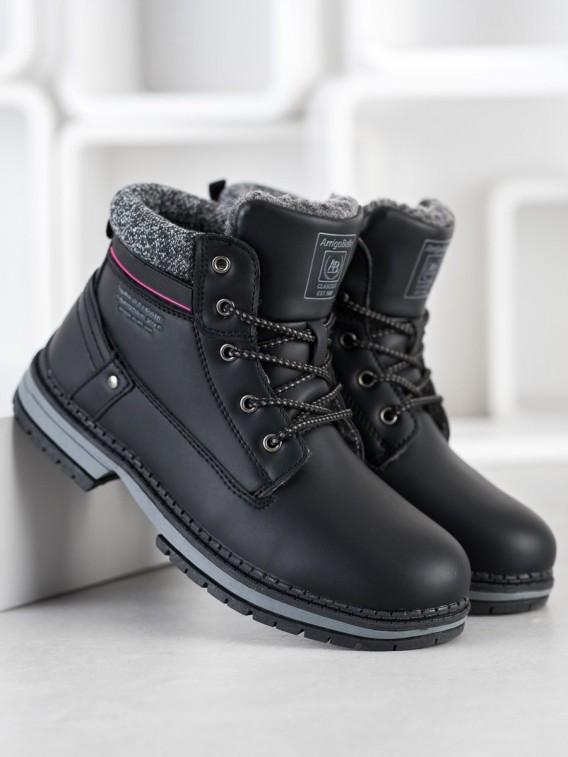 Viazané zateplené čierne topánky