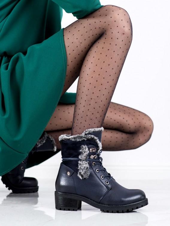 Tmavomodré členkové topánky s kožúškom