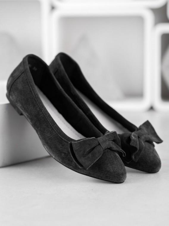 Kožené baleríny s mašľou