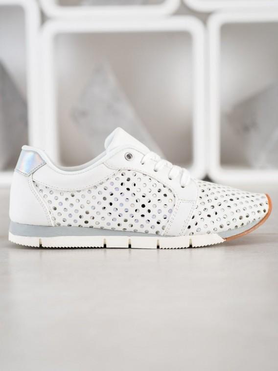Biele dierkované sneakersy