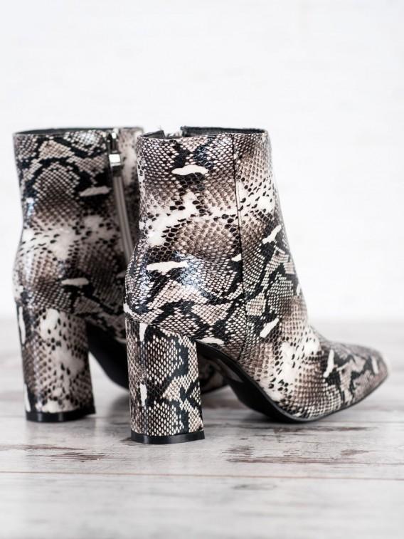 Členkové topánky do špičky s hadím vzorom