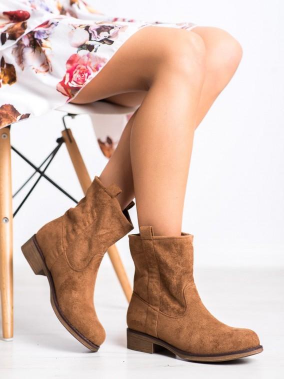 Nazúvacie semišové členkové topánky
