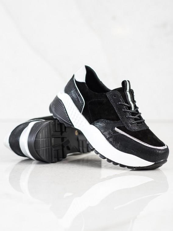 Čierne kožené tenisky