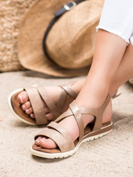 Hnedé sandálky z eko kože