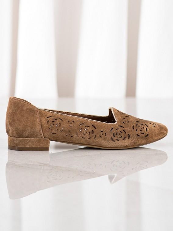 Kožené lodičky s ružou Sergio Leone