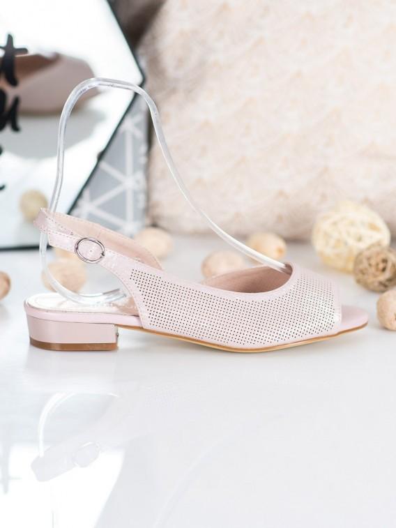 Dierkované sandálky na nízkom podpätku