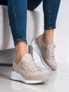 Béžové topánky športové z kože
